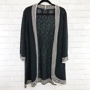 Torrid Black & White Border Trim Cardigan Sweater